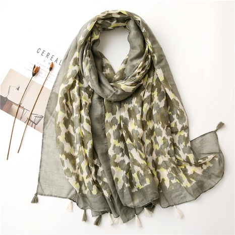 light green large size cotton and linen scarf  NHGD294410's discount tags