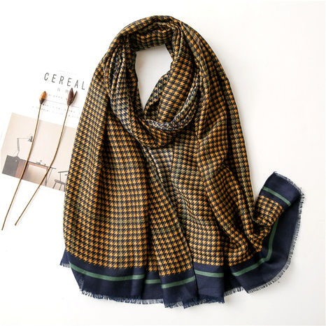 Houndstooth color matching cotton and linen scarf NHGD294414's discount tags