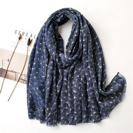 flower color contrast cotton linen scarf NHGD294416's discount tags