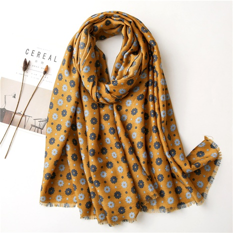cotton and linen retro flower scarf  NHGD294418's discount tags