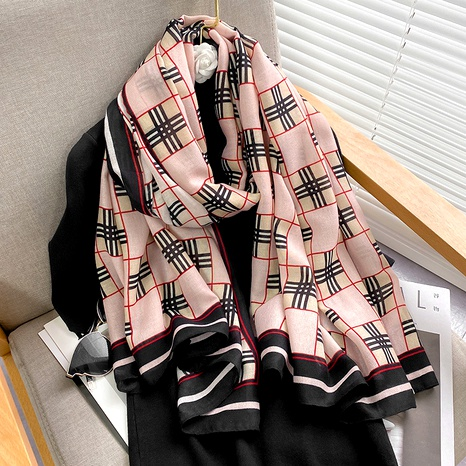 plaid fashion cotton linen silk scarf  NHCJ294431's discount tags