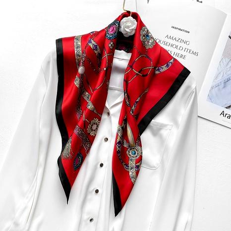 petit foulard carré en soie imitation rétro NHCJ294434's discount tags