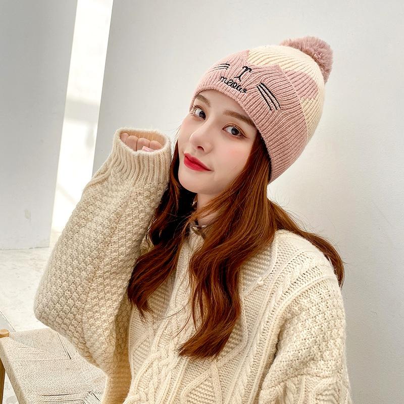 embroidery cartoon rabbit woolen hat  NHXB294452