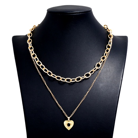 fashion metal simple love double-layer chain necklace NHSC294737's discount tags