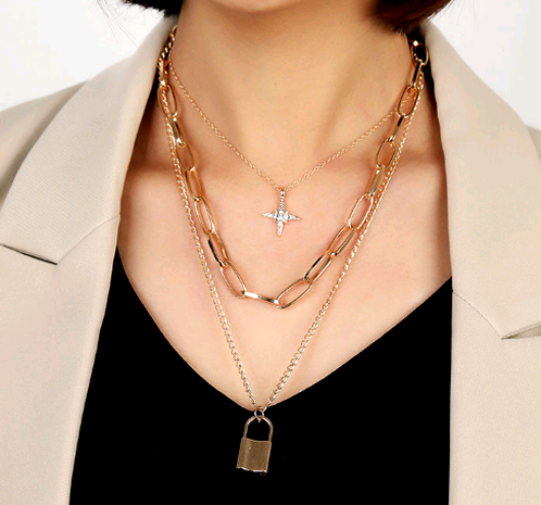 fashion metal simple love lock three-layer chain necklace NHSC294736's discount tags