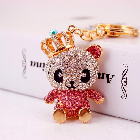 Creative cute diamond crown panda car keychain NHAK294521's discount tags