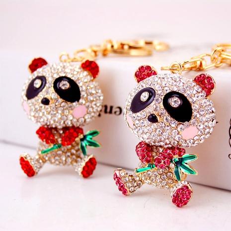 Creative cute diamond bamboo panda keychain NHAK294527's discount tags