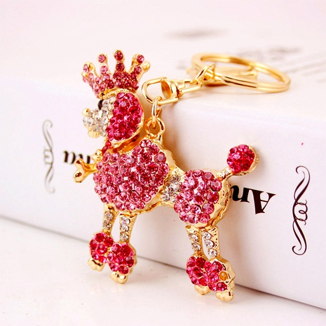 cute crown poodle dog key chain NHAK294536's discount tags