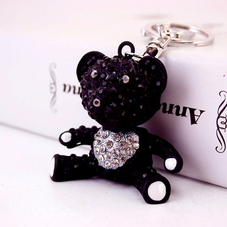 Creative cute black diamond bear doll keychain NHAK294539's discount tags