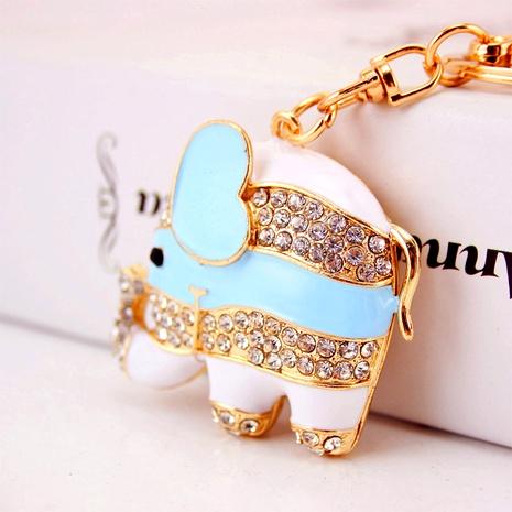 Creative cute diamond dripping oil cartoon elephant keychain NHAK294541's discount tags