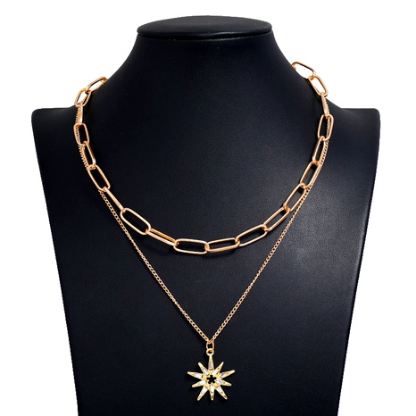 fashion metal wild sun flower pendant metal double chain necklace NHSC294747's discount tags