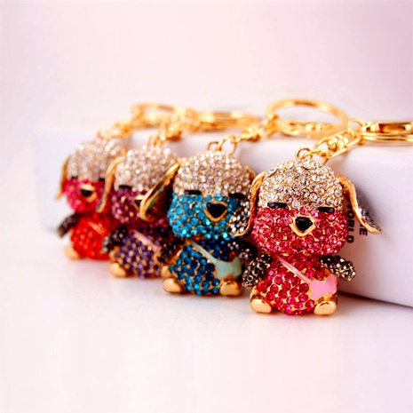 Creative cute cartoon crystal diamond puppy keychain NHAK294546's discount tags