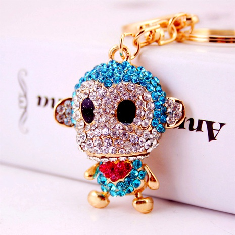 Creative cute diamond-studded little monkey keychain NHAK294547's discount tags