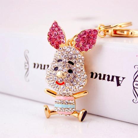 Creative cute diamond-studded zodiac pig car key chain NHAK294549's discount tags