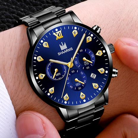 reloj de cuarzo con calendario y banda de acero con diamantes incrustados NHHK294621's discount tags