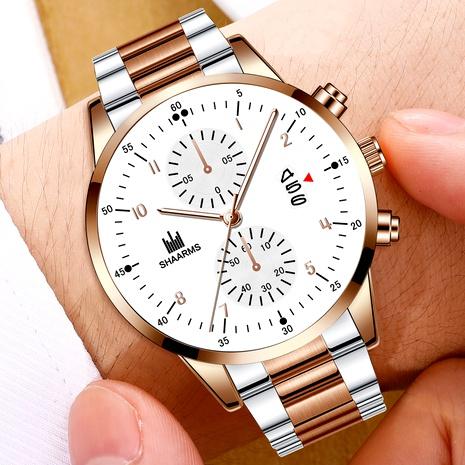 reloj de cuarzo con calendario de banda de acero NHHK294622's discount tags
