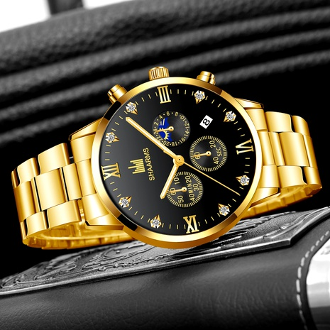 reloj de cuarzo con calendario de correa de acero NHHK294623's discount tags