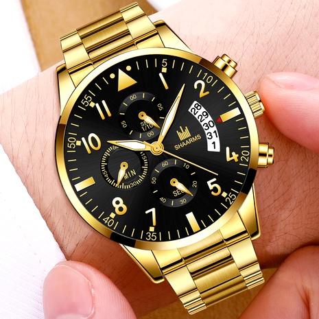 reloj de cuarzo con calendario de banda de acero NHHK294624's discount tags