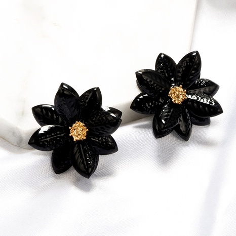 new fashion three-dimensional acrylic flower petal girl black earrings NHGY295220's discount tags