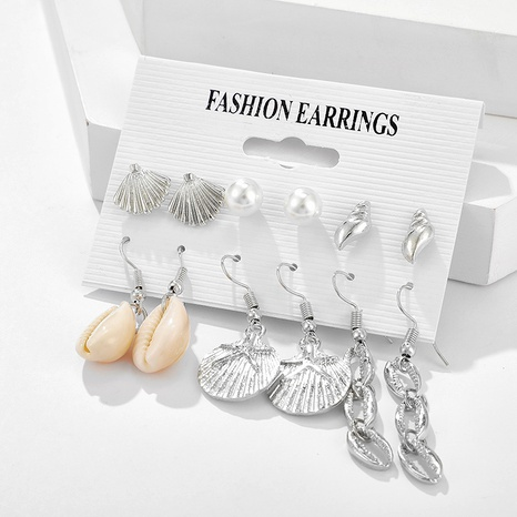 retro ocean beach style silver shell conch pearl scallop earring set NHGY295229's discount tags