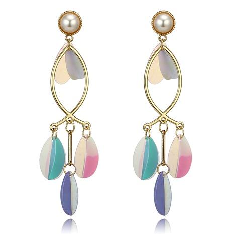 pendientes geométricos de perlas con borlas y hojas de pétalos de múltiples capas NHGY295243's discount tags