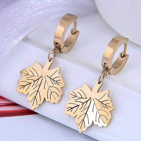 Korean fashion titanium steel simple cute maple leaf earrings NHSC295265's discount tags
