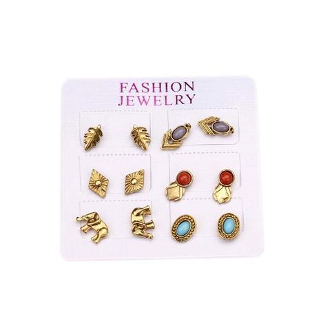 Bohemian retro style elephant inlaid gemstone leaf earrings NHGY295256's discount tags