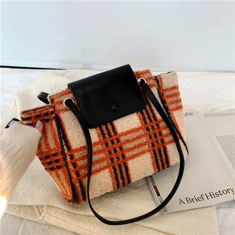 new single woolen magnetic buckle single shoulder messenger bag NHJZ294727's discount tags