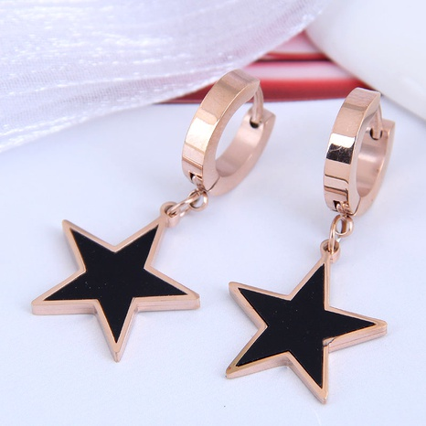 Korean fashion titanium steel simple five-pointed star earrings NHSC295203's discount tags