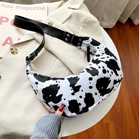 black white cow pattern crescent bag NHJZ294733's discount tags