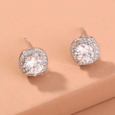 fashion zircon diamond square earrings  NHAN294778's discount tags