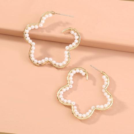 flower shape pearl earrings NHAN294779's discount tags