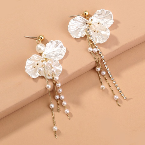 shell petals pearl diamond-studded earrings NHAN294789's discount tags