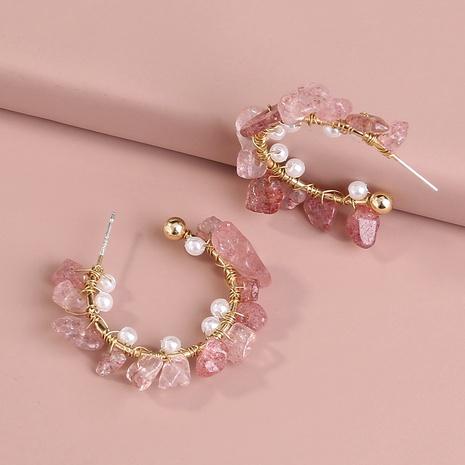 irregular crushed stone C-shaped pearl earrings NHAN294790's discount tags