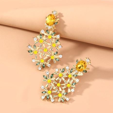zircon inlaid diamond flower earrings  NHAN294797's discount tags