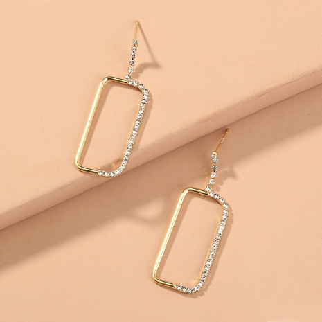 aretes rectangulares de oro con costuras de diamantes NHAN294799's discount tags