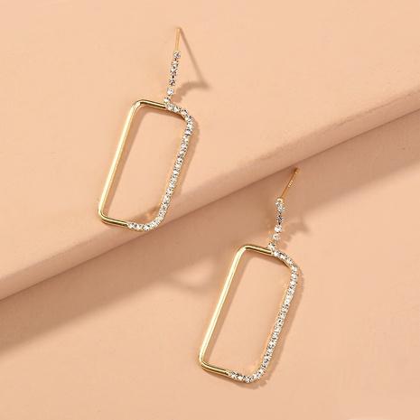diamond stitching gold rectangular earrings NHAN294799's discount tags