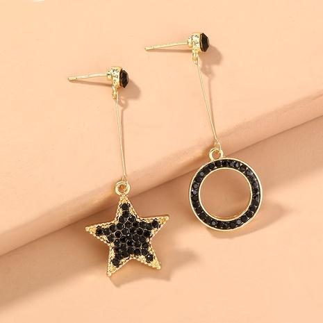 Pendientes asimétricos de estrella de diamantes negros de moda NHAN294800's discount tags
