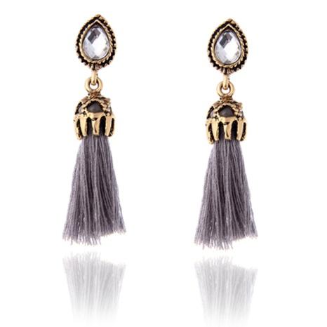 retro tassel pendant copper zircon earrings NHPF294804's discount tags
