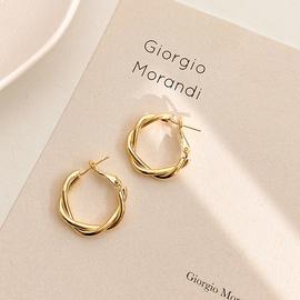 925 silver needle fashion twist earrings  NHPF294808