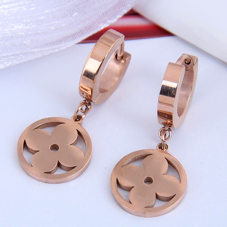 Korean fashion titanium steel simple four-leaf earrings NHSC295192's discount tags