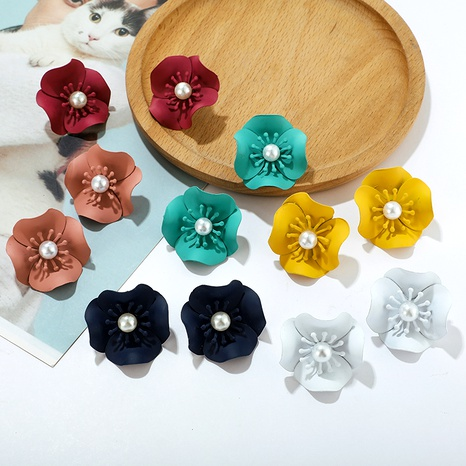 Fashion creative Korean simple style multi-color flower pearl earrings NHGY295188's discount tags
