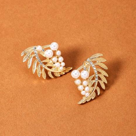 diamond-studded pearl leaf earrings  NHGY295183's discount tags