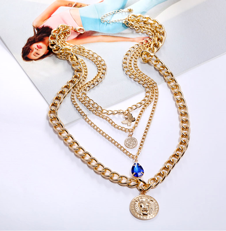 fashion metal wild multi-element pendant chain necklace NHSC294748's discount tags