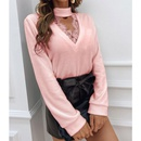 Lace Vneck long sleeve bottoming shirt NHKO296306