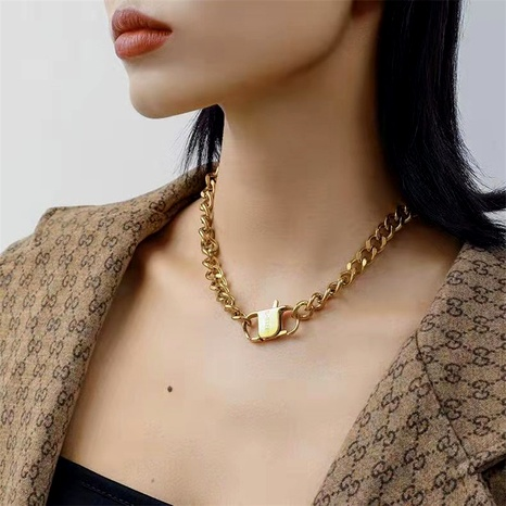 retro thick chain stainless steel clasp gold necklace NHYQ295022's discount tags