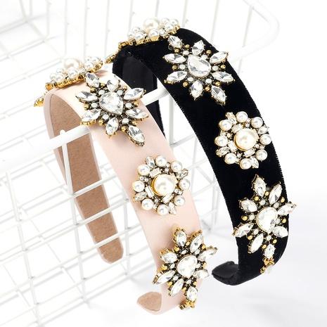 diadema de perlas de imitación de cristal con incrustaciones de diamantes NHJE295032's discount tags