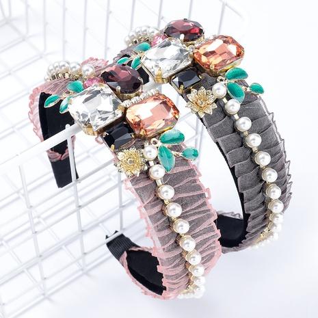 diadema de perlas de imitación de vidrio con incrustaciones de diamantes de aleación de franela NHJE295043's discount tags