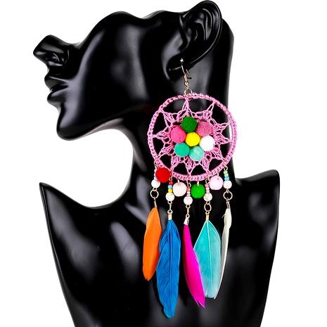 alloy diamond feather tassel earrings NHJE295048's discount tags