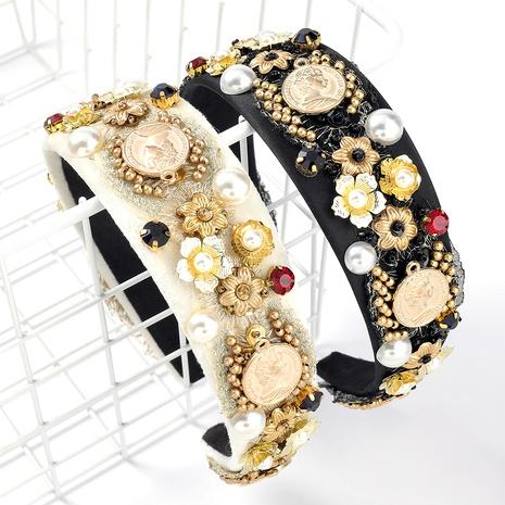 Diadema de perlas de imitación con diamantes de aleación de terciopelo de moda NHJE295049's discount tags